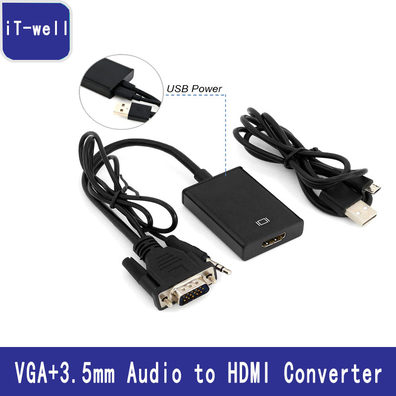 VGA+3.5mm Audio to HDMI Converter VGA HDMI Adapter with USB Power Supply 1080P for laptop PC to TV Projector Display Monitor new arrival usb 3 1 type c to hdmi vga charge charging adapter 1080p video converter for macbook to tv display monitor projector