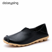 dobeyping New Spring Autumn Woman Shoes Genuine Leather Women Flats Slip On Women's Loafers Soft Mother Shoe Large Size 35-43 цена в Москве и Питере