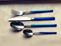 24PCS Western Stainless Steel Dinnerware Set with Luxury Blue Color Handle Steak Knife Fork Tablespoon Cutlery Sets for Family