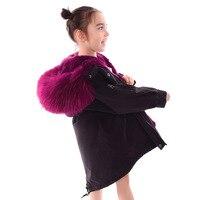 2018 новые зимние натуральный кроличий мех пальто с мехом для девочек реального енота Детская куртка детские меховые пальто для мальчиков де