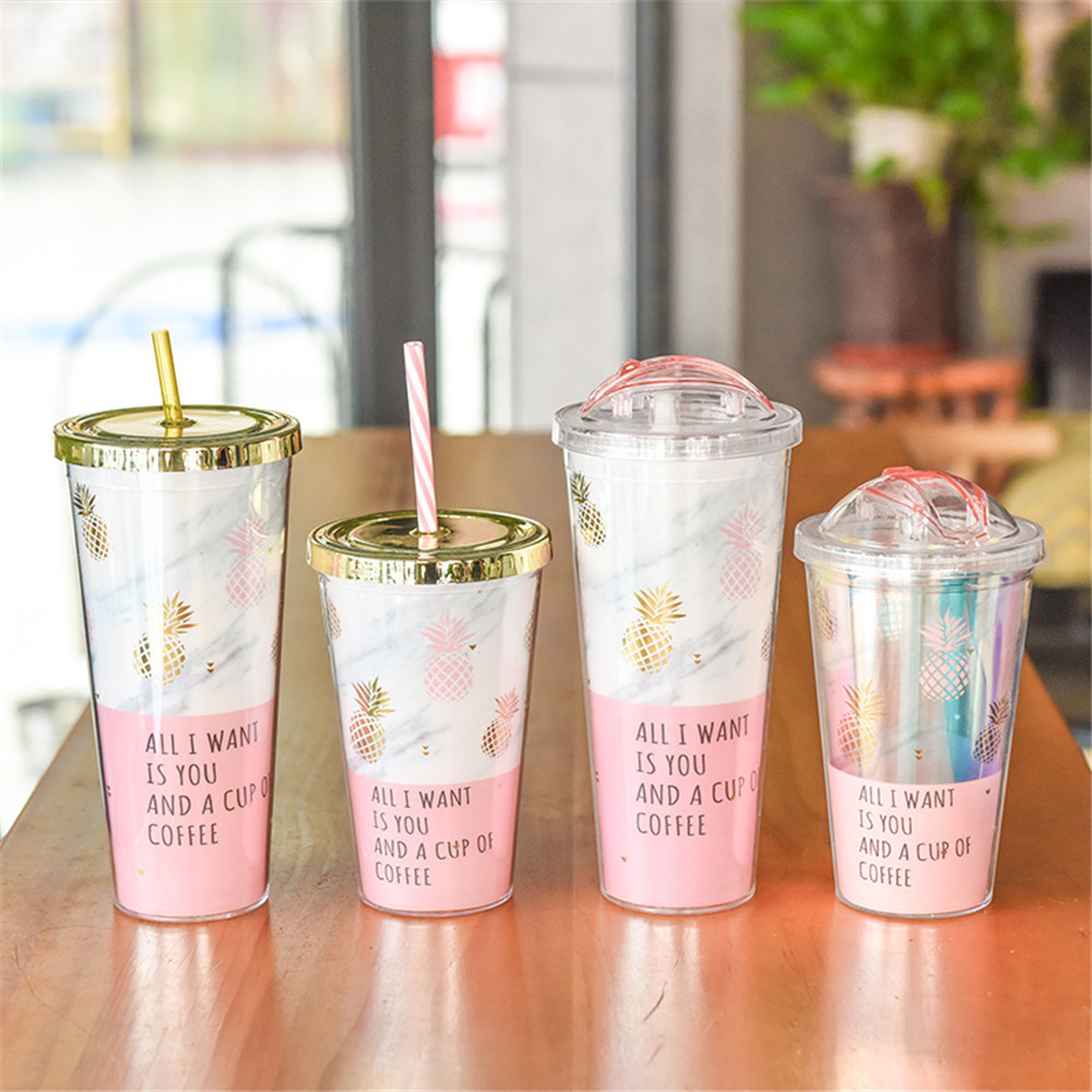 Gold Plating Pineapple Mugs Plastic Double Layer Water Bottle With Straw Pink Travel Portable Juice Coffee