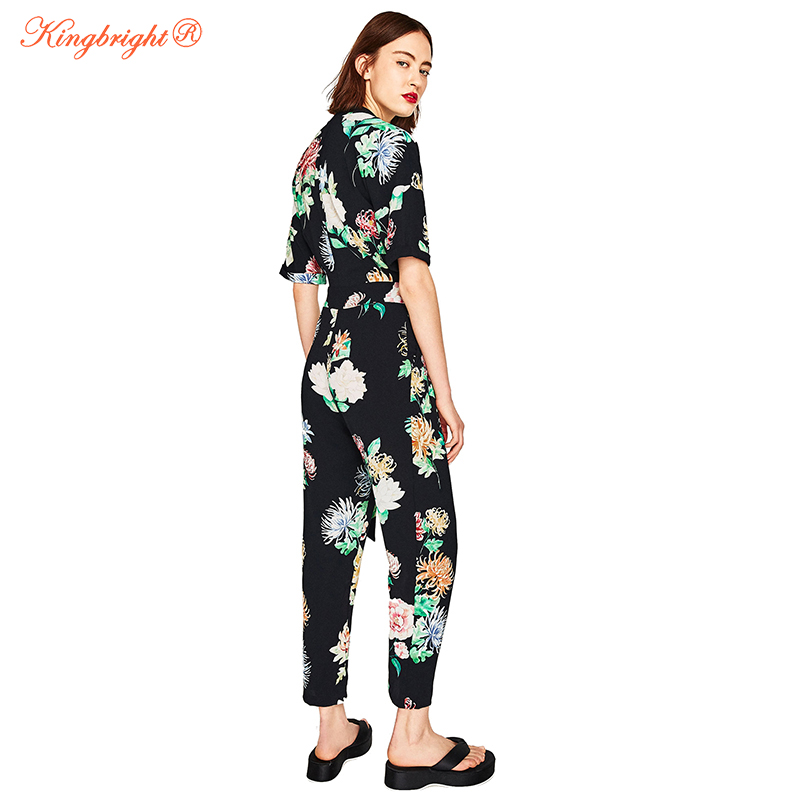 da7c374db25 King Bright Boho Sexy Women Jumpsuit Romper Hot drilling Floral Print  Chiffon Summer Jumpsuit Female Overalls Beach Playsuits-in Jumpsuits from  Women s ...