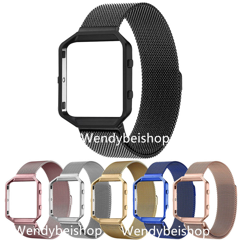 Mesh Milanese Loop Steel Bracelet Wrist Watch Band Strap Belt Magnetic Closure with Case Metal Frame For Fitbit Blaze 23 watch carlywet 23mm black 316l stainless steel replacement watch strap belt bracelet with case metal frame for fitbit blaze 23 watch