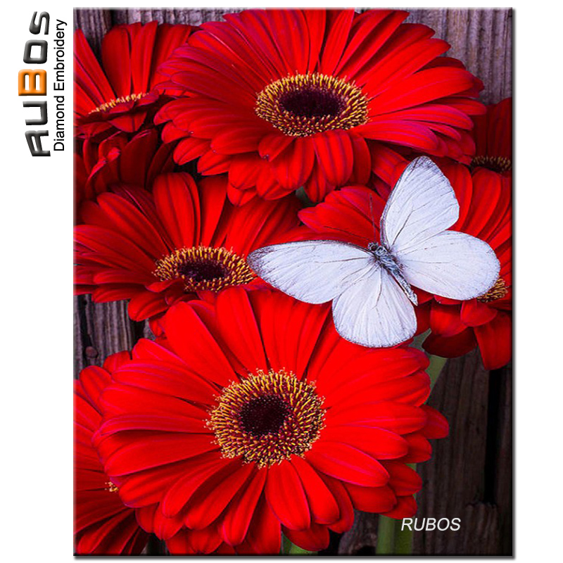 RUBOS Diamond Painting Cross Stitch Red daisy butterfly Diamond Embroidery Mosaic Pattern Complete Area Drill Wall Picture Decor