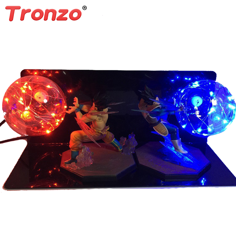 Tronzo 16cm Dragon Ball Super Saiyan Action Figure LED Lighting Anime Dragon Ball Z Vegeta Goku Model Toy Birthday Gift For Boy ydaenerys anime figure dragon ball vegetto super saiyan god blue hair kakarotto vegeta goku action figure toys model kids gift