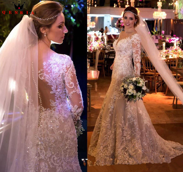 קו ארוך שרוול תחרה חרוזים פאייטים יוקרה מדהים כלה שמלות כלה 2020 שמלות כלה אופנה חדשות תפור לפי מידה YB38