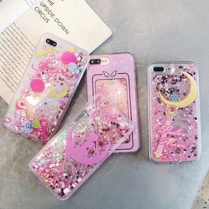 Hot Pink Gold Glitter Dynamic Liquid Flowing Sailor Moon Case for iphone X XR XSMAX 7 8 6 S plus Mermaid Soft Edge Fashion cover