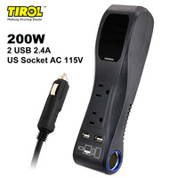 TIROL 200W Car Charger Adapter Power Inverter Dual USB 4.8A Car Cigarette Lighter Socket & Dual AC OutletsT24437a Free Shipping