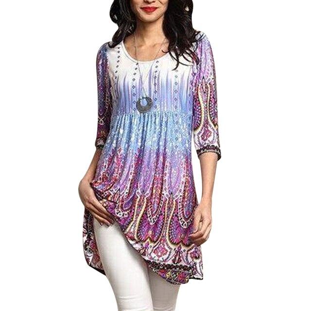 e3f2149f9ef 2018 Vintage Printed Oversized Blouse Women Tunic Tops Summer Half Sleeve  Loose Long Shirt Plus Size 4XL Causal Female Boho Top