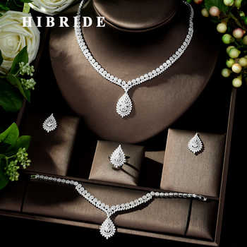 HIBRIDE Luxury Bridal Jewelry Set With Cubic Zirconia Party Wedding Saudi Arabic Dubai Necklace&Earring&Bangle&Ring Sets N-247 - DISCOUNT ITEM  30% OFF All Category