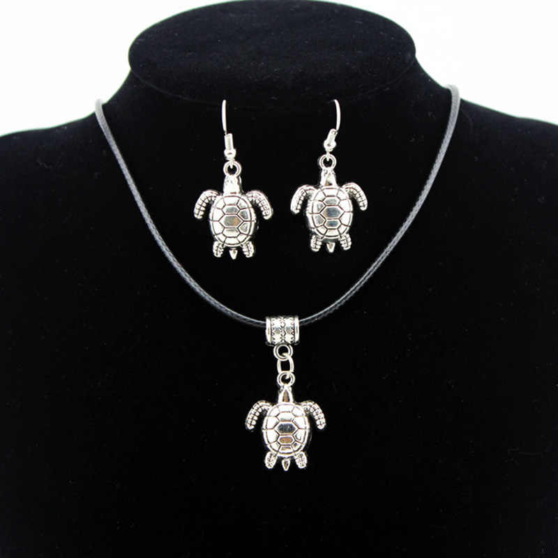 Turtles Jewelry Set Women Retro Animals Pendants Necklaces Drop Earrings Leather Chain Choker Statement Charm Accessories