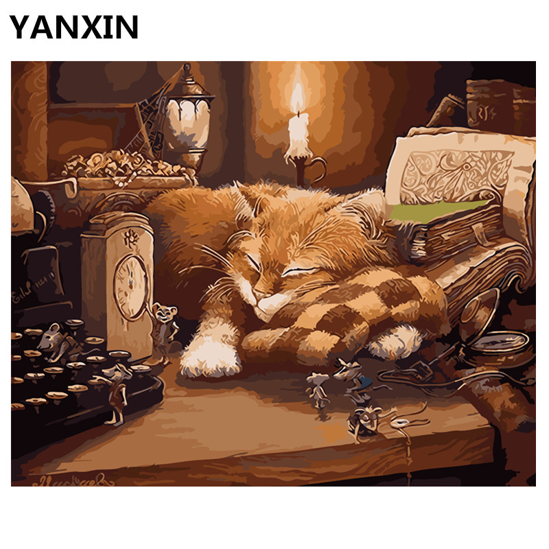 YANXIN DIY Frame Painting By Numbers Oil Paint Wall Art Pictures Decor For Home Decoration E876 picture frame