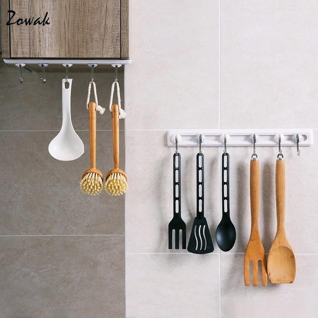 5/6 Hooks Kitchen Cabinet Under Shelf Storage Rack Organizer Hook Adhesive  Utensil Hanger Rail