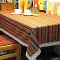 table cloth square Bohemia wedding Home Outdoor useful pretty textile woven linen geometric printed