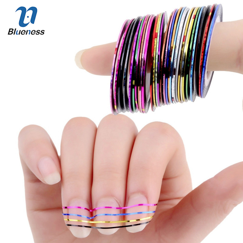 Blueness 31 Colors Rolls Striping Tape Line Foil Transfer Decals On Nails DIY Tips Decorations For 3D Nail Art Stickers JH014 14 rolls glitter scrub nail art striping tape line sticker tips diy mixed colors self adhesive decal tools manicure 1mm 2mm 3mm
