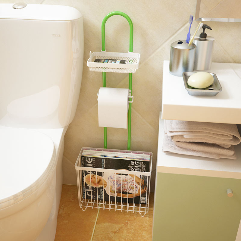 Metal Multifunctional Bathroom Shelf Toilet Paper Towel Rack Iron Magazine Rack Shelving Products for Sale Free Shipping