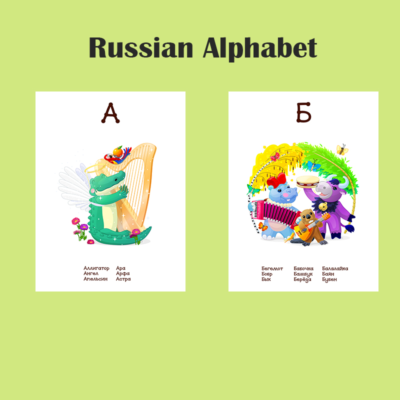 33 Russian Letters Alphabet/11 Number Word Pocket Cards Baby Montessori Learning Word Card FlashCards Educational Toys For Kids