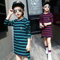 2017 New Brand Spring Girls T-shirt Korean Fashion Long Sleeved Striped T-shirt Toddler Clothes Baby Girl Clothing Kids 5-9-12 Y