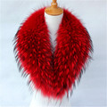 Size 80cm * 18 cm Real Raccoon Fur Collar High Quality Winter Warm Fur Collar Scarves 6 Colors