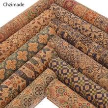 Chzimade 21x29cm A4 tela estampada de flores Vintage tela de costura de corcho suave para materiales de ropa de bricolaje