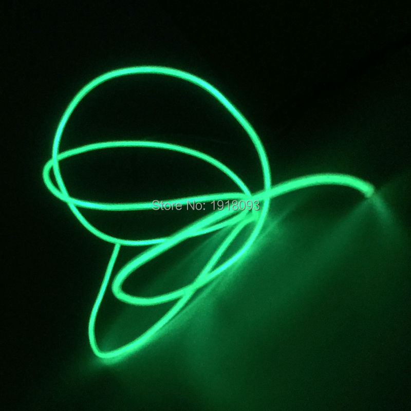 Flashing Color Green EL Wire Glowing Lights Waterproof Flexible for Holiday Christmas Glow Decoration