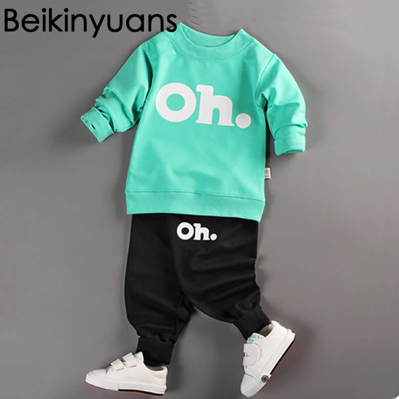 2017 New Baby Winter Sports Clothing Two Sets Baby Boys Clothes Newborn Girls Autumn Cotton Shirt Kids Long-sleeved Infant