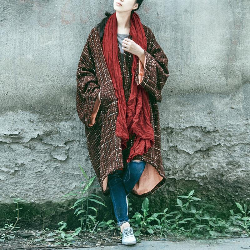 Johnature mujeres abrigo de lana Vintage 2019 invierno nuevo botón de cuello vuelto más el tamaño de las mujeres ropa a cuadros caliente largo abrigos manga-in Lana y mezclas from Ropa de mujer    1