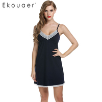 Ekouaer Women Nightgowns Cotton Night Dress Sexy Spaghetti Strap V Neck Lace Casual Home Dress Night