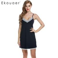 Ekouaer Women Nightgowns Cotton Night Dress Sexy Spaghetti Strap V Neck Lace Casual Home Dress Night