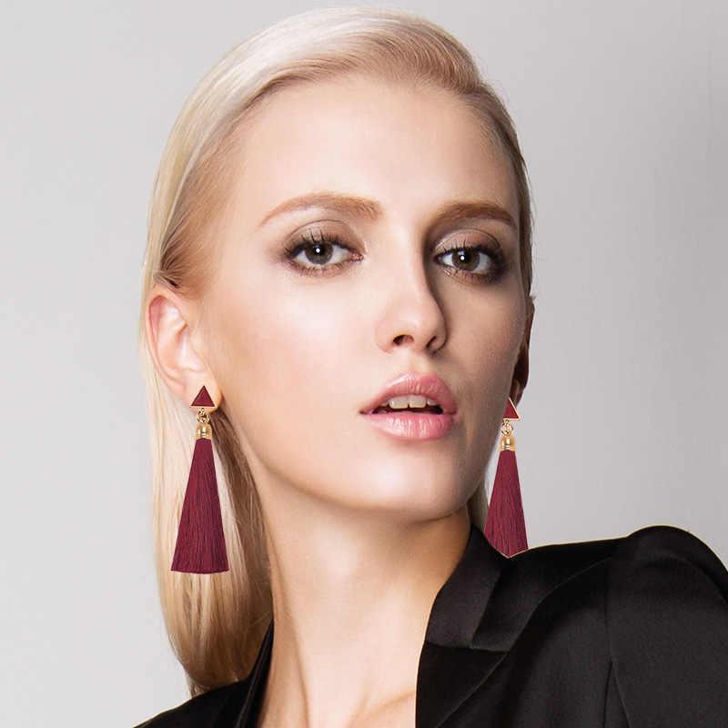 Vintage Ethnic Long Tassel Drop Earrings for Women Lady Fashion Bohemian Statement Fringe Dangle Women Earring 2019 New Jewelry