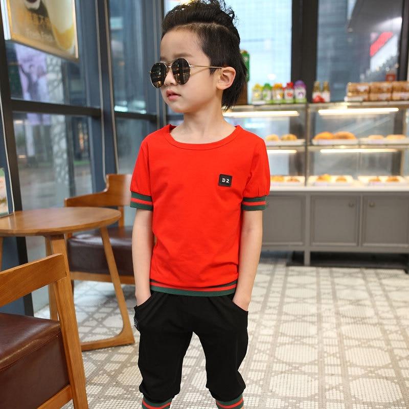 T verano niño ropa algodón de los muchachos de la camiseta + pantalones cortos e