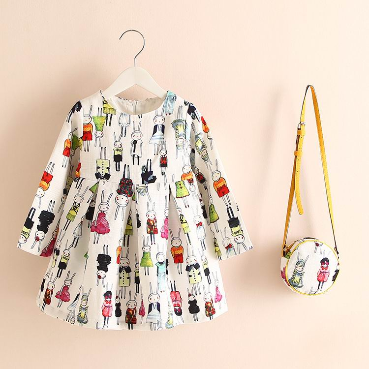 Spring Autumn European American Style New Girl Dress Long Sleeve Fashion Dress With Bag Children Clothing E8187