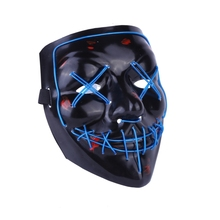 Halloween Cosplay Party Masks Full Face Covered Costume LED Mask EL Wire Light Up Mask for Festival Party Glow in the Dark glow in the dark halloween jason damaged face mask green