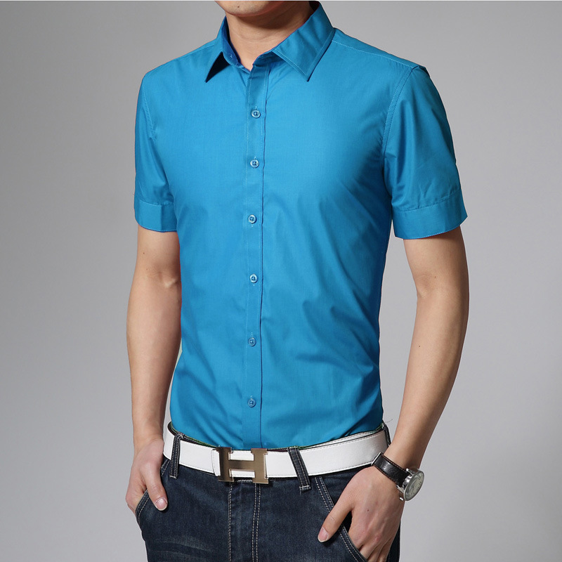 17 Colors Solid Mens Shirts Short Sleeve Summer 2016 New Brand Camisetas Hombre Slim Fit Designer Casual Shirts Size 3xl