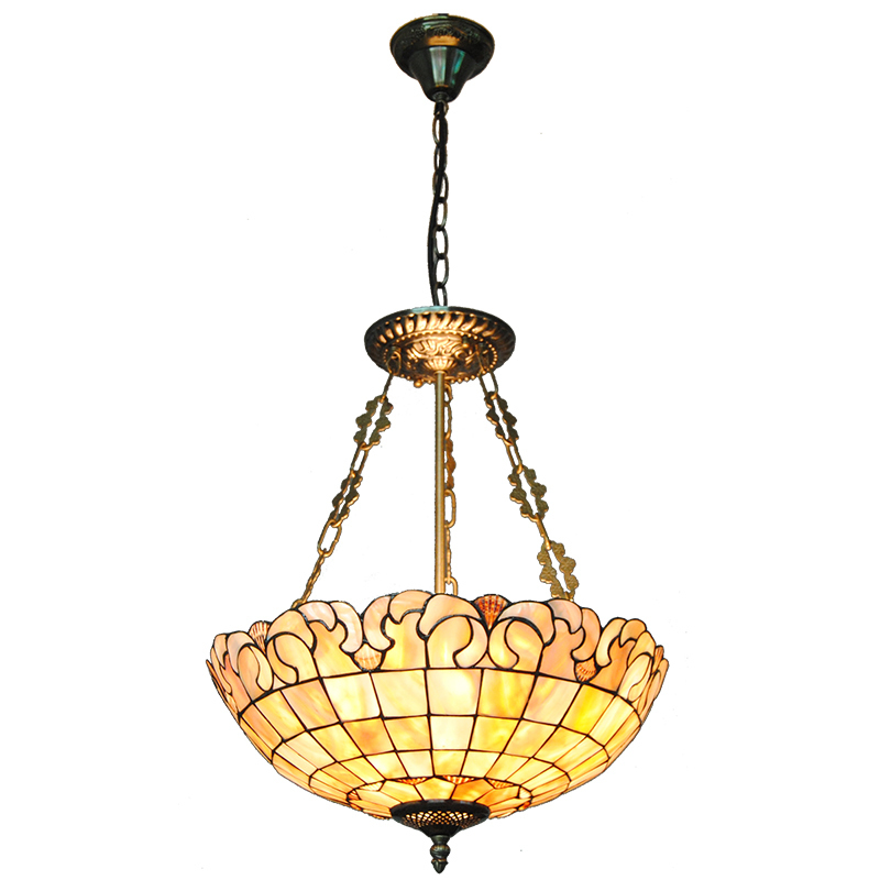 16 Simple European Stained Shell Inverted Hanging Light Fixtures Modern Tiffany Lamp Lighting For Hotel Coffee Shop Bar PL778 5 mediterranean tiffany flower hanging lights vintage stained glass shell bar cafe hallway ceiling lamp fixtures lighting cl254