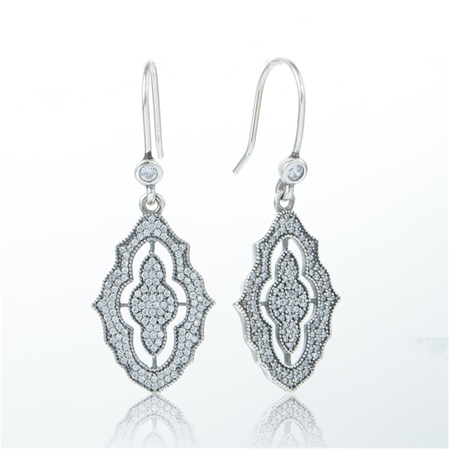 Real 925 sterling silver Earring Fashion Sparking Lace Silver Earrings For Women DIY European Jewelry Free Shipping