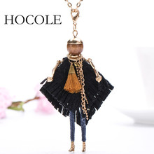 цена на HOCOLE Hot sale Alloy Gold Plated Doll Necklace Womens Girls Black Cloth Dress Big Pendant Maxi Statement Necklaces Jewelry