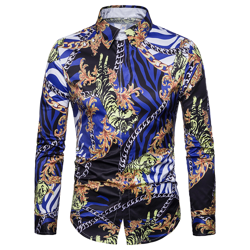 Comaba Men Turn Down Collar Digital Printed Oversize Work Shirt