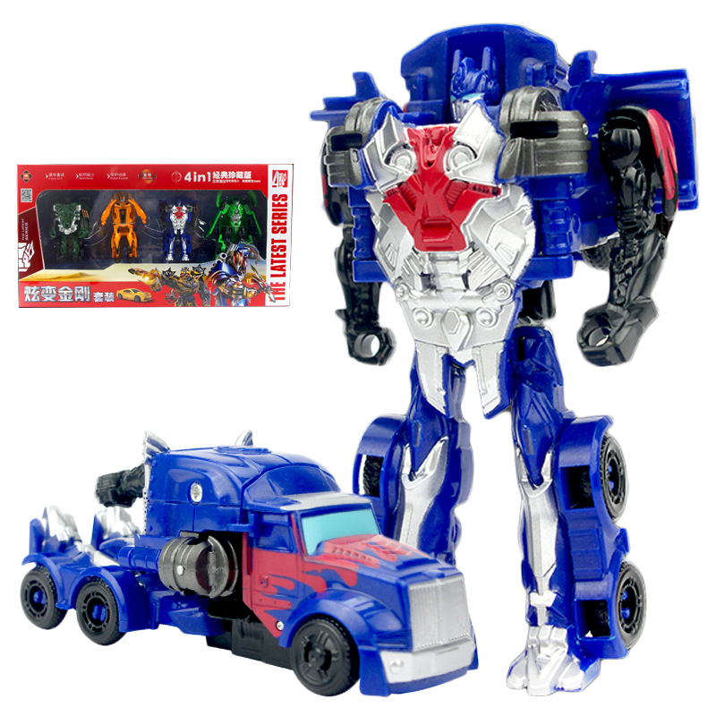 <font><b>4</b></font> PCS set Robot car <font><b>Transformation</b></font> Robots Car model Classic boys <font><b>Toys</b></font> Action Figure <font><b>Toys</b></font> For Children Xmas birthday gifts image