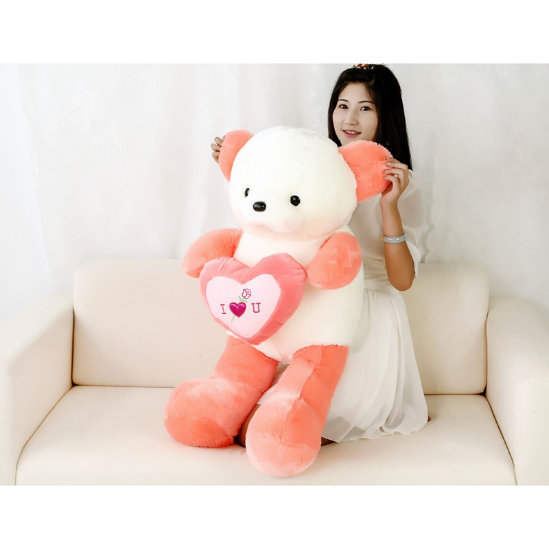 New 100cm Romantic Heart I Love You Plush Teddy Bear Doll Stuffed Soft Bear Room Sofa Decoration For Valentine's Day Gift new 1pc 60cm stuffed plush toy holding love heart big plush teddy bear 2 colors soft gift valentine day birthday girl s gift