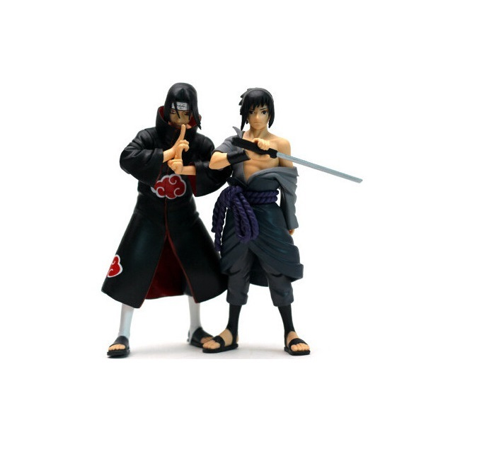 New 2pcs/lot 15cm Naruto Uchiha Sasuke Uchiha Itachi PVC Action Figures Collectible Model Toy T30