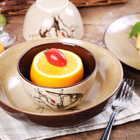 8inch Platos de ceramica hand painted ceramic bowl of noodles salad bowl +dish retro Rice bowls Restaurant dinnerware Sets