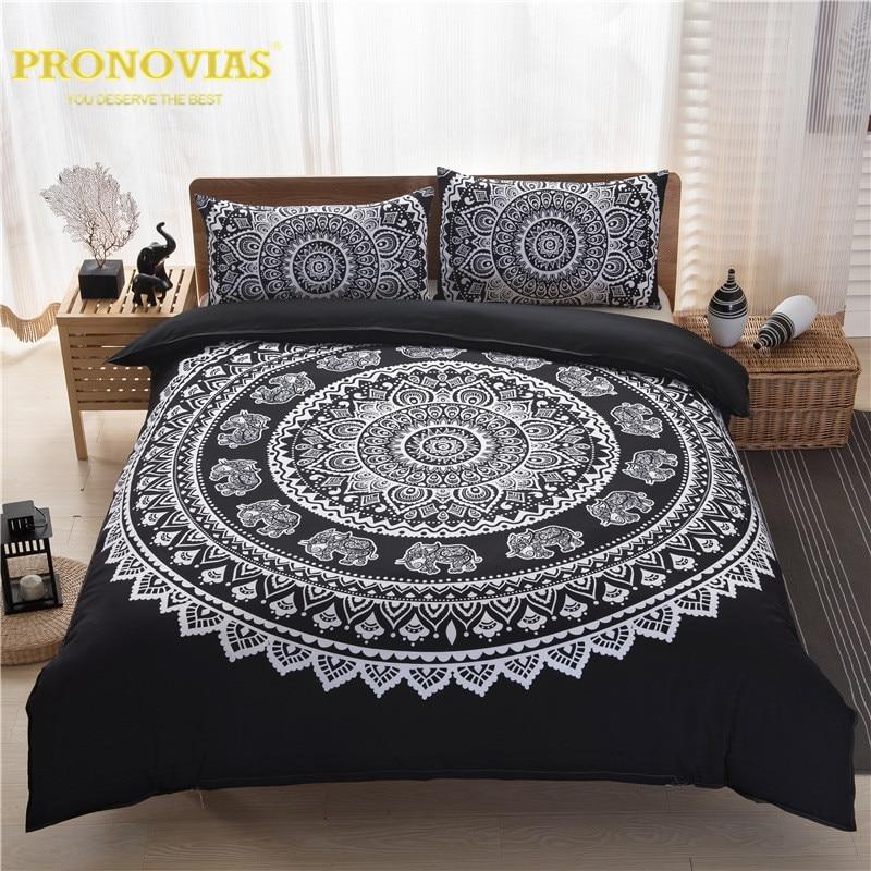 Night Tender black n white mandala boho style duvet cover set king queen double cal king size