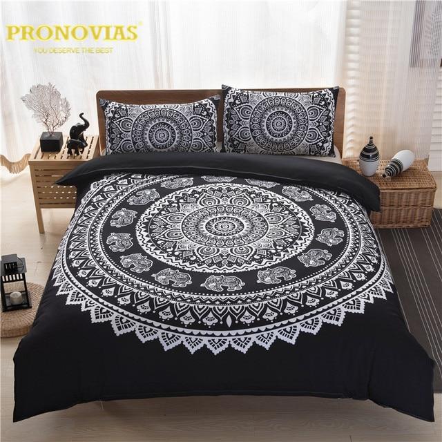 Night Tender Black N White Mandala Boho Style Duvet Cover Set King Queen Double Cal Size