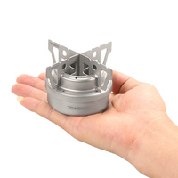 TOMSHOO New Outdoor Camping Stove Titanium Alcohol Stove + Rack Set Mini Ultralight Burners with Cross Stand Stove Rack Support