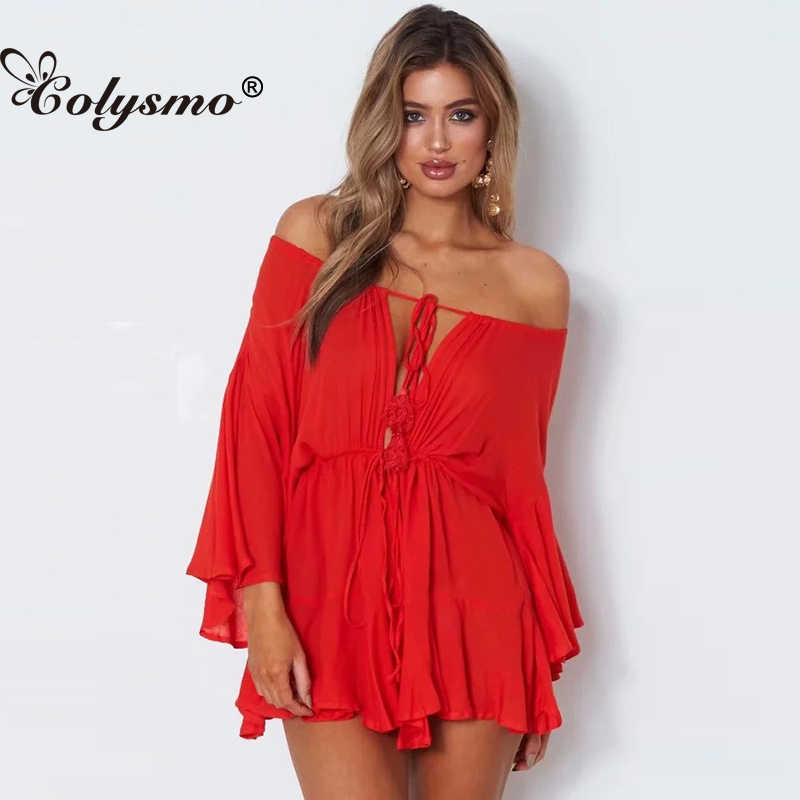 Colysmo Sexy Loose Shoulder Joint Pants Solid Color Casual Tie Waist Playsuits Women Horn Long Sleeve Jumpsuits Party 2018 New