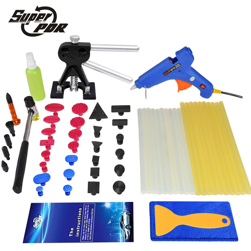 Super PDR dent removal tool for car tool kit glue gun glue sticks dent puller glue tabs auto repair tool to remove dents 5 second fix liquid plastic welding kit uv light repair tool glue kit