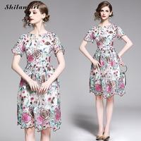 2019 Sexy Dress Short Sleeve O Neck Dress Evening Party Club Vestido Flower Floral Print Ruffles Elegant Slim A Line Dresses