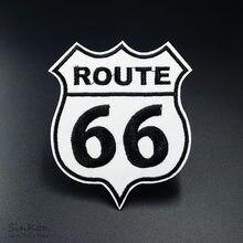 ROUTH 66 (Dimensioni: 7.5x9.0cm) di Patch Distintivo Ricamato Applique Da Cucire Ferro Sui Vestiti di Abbigliamento Accessori di Abbigliamento Distintivi E Simboli