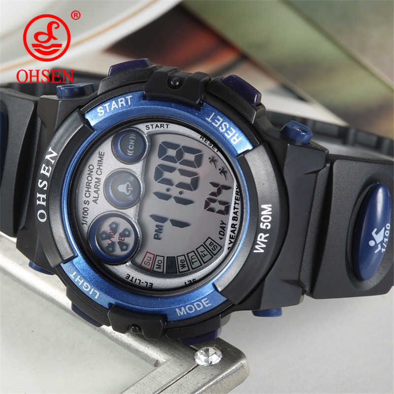 Fashion OHSEN Brand Sports Watches Children LED Digital Watch Kids Multifunctional Wristwatches Alarm Stopwatch Student Clock